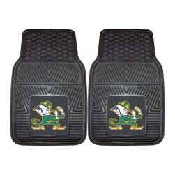 Fanmats - Fanmats Notre Dame 2-piece Vinyl Car Mats - Fanmats presents this two-piece set of Notre Dame vinyl car mats. These mats show your Irish allegiance in style. The black mats feature the trademarked Fighting Irish mascot. These durable mats keep the floor of any car, truck, or SUV clean.