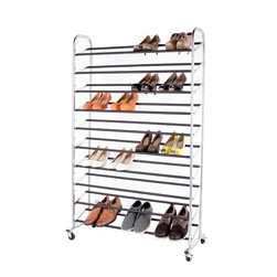StorageIdeas - StorageIdeas 10-Tier 50-Pair Rolling Shoe Rack, Shoes Racks with Non-Slip Bars - Features: