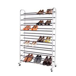 StorageIdeas - StorageIdeas 10-Tier 50-Pair Rolling Shoe Rack, Shoes Racks with Non-Slip Bars - Features: