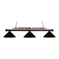 Z-Lite - Z-Lite 170MB-MMB Shark 3 Light Billiard Lights in Matte Black - This 3 light Billiard from the Shark collection by Z-Lite will enhance your home with a perfect mix of form and function. The features include a Matte Black finish applied by experts. This item qualifies for free shipping!
