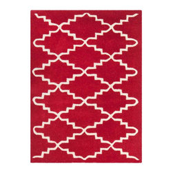 Safavieh - Blythe Hand Tufted Rug, Red / Ivory 2' X 3' - Construction Method: Hand Tufted. Country of Origin: India. Care Instructions: Vacuum Regularly To Prevent Dust And Crumbs From Settling Into The Roots Of The Fibers. Avoid Direct And Continuous Exposure To Sunlight. Use Rug Protectors Under The Legs Of Heavy Furniture To Avoid Flattening Piles. Do Not Pull Loose Ends; Clip Them With Scissors To Remove. Turn Carpet Occasionally To Equalize Wear. Remove Spills Immediately. A timeless quatrefoil motif makes a global design statement in the subtle but sophisticated Desai area rug. These stunning hand-tufted wool rugs are crafted in India to recreate the elegant look of hand-knotted carpets for today's lifestyle interiors.