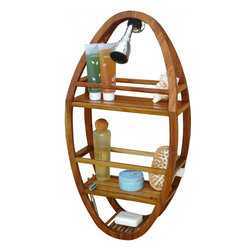 "Aqua Teak - Teak Shower Organizer, Spa Collection - You'll never find a more durable and visually appealing teak shower organizer. This Aqua Teak shower stand hangs on your shower head or hook and is designed to hold all of your accessories. The teak shower caddy is a convenient size, allowing plenty of room for bath products while still comfortably fitting in almost any shower. Additionally, teak wood is naturally water resistant and will not corrode or pit. Handcrafted and made to last, we are so confident that you will love your teak shower organizer that we offer a 30 day satisfaction guarantee and 5 year warranty on all of our products! Dimensions: 12.75""w x 24.75""h x 4.75""d"