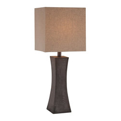 Lite Source - Lite Source Enkel Transitional Table Lamp XSL-03312 - A crisp hourglass shape creates a unique look to this Lite Source table lamp from the Enkel Collection. This transitional table lamp is ideal for modern spaces thanks to the rich, modern tones of the Walnut Wood finish and the coordinating updated look of the linen fabric shade.