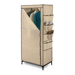 "Honey Can Do - 27"" Storage Closet with Shoe Organizer - Breathable fabric cover- keeps clothes fresh. Exterior shoe storage- 9 pockets for easy access. Heavy-duty steel frame- sturdy & rustproof. Versatile storage area- perfect for laundry room, garage or basement. 3.94 in. x 18.11 in. x 62.2 in."