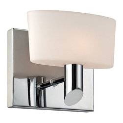 """Lamps Plus - Contemporary Alico Toby 5 1/2"""" Wide Chrome Wall Sconce - This glistening chrome wall sconce is a remarkable modern design that's sure to please you and your family. The square chrome wallplate and truncated rod arm hold aloft a beautiful pillow shape white opal glass shade. Give your home a soft attractive glow with this delightful design from Alico. Single light sconce. Chrome finish metal. White opal glass. Includes one 60 watt G9 bulb. 5 1/2"""" wide. 5"""" high. Extends 4"""". ADA compliant.  Single light sconce.    Chrome finish metal.   White opal glass.   Includes one 60 watt G9 bulb.   5 1/2"""" wide.   5"""" high.   Extends 4"""".   ADA compliant."""