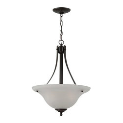 Seagull - Seagull Windgate - Heirloom Bronze Collection Pendant Lighting Fixture - Shown in picture: 65941-782 Two Light Pendant in Heirloom Bronze finish with Alabaster Glass