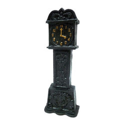 EttansPalace - Grandfather Clock Cast Iron Still Coin Bank - Quality foundry cast iron collectible. Remind yourself or a lucky recipient that time counts! You'll save your coin for a rainy day by dropping it into the top slot of this clever, 9-inch high collectible. Our heavyweight, cast foundry iron marvel is hand-painted in ebony with gold accents as a unique gift and a great desktop accent.