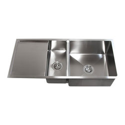 "Ariel - 42 Inch Stainless Steel Undermount Double Bowl Kitchen Sink W/ Drain Board - With a side drain board that can be used on either the left or right, this double bowl sink is ideal for large cooking projects. Exterior Dimensions 42"" x 19"" x 10"" 