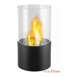 Moda Flame - Moda Flame Lit Table Top Firepit Bio-Ethanol Fireplace in Black - The Lit Tabletop Bio Ethanol Fireplace is a stylish personal fireplace. It features a simple yet sleek design of a powder coated black base finish and a glass rounded panel that surrounds the flame. The Lit ethanol fireplace will sure surpass any candle with it beauty of ambiance of a real fire.