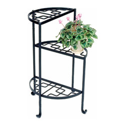 Achla - Three Step Wrought Iron Plant Stand - This three shelf display stand offers a beautiful geometric design on each of the iron crafted steps.  The stair step design of this plant stand allows for potted plant foliage to intermingle for a stunning wall of color and blooms.  Perfect aside a door, or in a precious corner of your patio or deck, this sturdy plant stand is powdercoated for enduring beauty.  With a hint of Asian inspired geometry, this contemporary Iries plant stand cleverly transposes ascending semicircular shapes on an iron frame in order to create such a unique and successfully artful furnishing, completed by a black weather proof finish. * Iron. Black Powdercoat finish. Made in Poland. 20.5 in. Dia. X 31.5 H in.