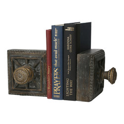 Old World Design - Old World Design Doorknob Bookends - Beautiful HardwareYour shelves deserve to feel stylish, too! The Doorknob Bookends from Old World Design create some chic company for your books and knickknacks. Made from polyresin, each features a handpainted finish that mimics the aged feel of antique hardware. Let the gorgeous look add vintage appeal to your home, or use your pair as organizational accessories in a traditional space. Your shelves will thank you.Handpainted polyresinSold as a pairMade in China