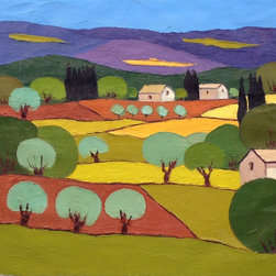 Fall Colors, Original, Painting - A patchwork of fields in shades of gold, green and umber contrast sharply against the cool lavender and deep blue of distant mountains. primary colors include green, gold, orange, blue and lavender.