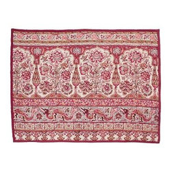 Carlotta Wholecloth Sham, Standard, Coral - Ancient images in traditionally bright colors evoke Indian Mughal textiles on our whole-cloth quilt and sham. Handwoven of 100% cotton. Pure cotton batting. Quilt and sham reverse to solid red. Quilted sham has an envelope closure. Quilt, sham and insert sold separately. Machine wash. Imported.