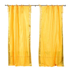 Indian Selections - Pair of Yellow Tie Top Sheer Sari Curtains, 43 X 96 In. - Size of each curtain: 43 Inches wide X 96 Inches drop