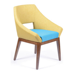 Lemon Embrace Chair - This Embrace chair is created for those people who like contemporary and old-school glamor furniture. It's characterized by an extraordinary shape, sleek rounded lines, and softly textured upholstery. Its smooth wooden legs add a natural element to this stunning design. It's versatile and easily moved, and it will look fantastic in your dining room, den, bedroom, or office.