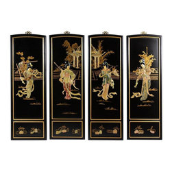 Oriental Furniture - Lady Generals Wall Plaques - Add a touch of the East to your home decor with these exquisite wall plaques.  Each set is individually crafted by an artisan in Guangdong and features a unique courtyard scene different from any other. Decorated with carved soapstone figures with hand painted details and finished with a rich lacquer, this art set will bring a sophisticated Oriental accent to your home.