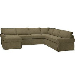 """PB Basic Right 4-Piece Chaise Sectional Slipcover, Velvet Sage - Designed exclusively for our PB Basic Sectional, these easy-care slipcovers have a casual drape, retain their smooth fit, and remove easily for cleaning. Select """"Living Room"""" in our {{link path='http://potterybarn.icovia.com/icovia.aspx' class='popup' width='900' height='700'}}Room Planner{{/link}} to select a configuration that's ideal for your space. This item can also be customized with your choice of over {{link path='pages/popups/fab_leather_popup.html' class='popup' width='720' height='800'}}80 custom fabrics and colors{{/link}}. For details and pricing on custom fabrics, please call us at 1.800.840.3658 or click Live Help. All slipcover fabrics are hand selected for softness, quality and durability. {{link path='pages/popups/sectionalsheet.html' class='popup' width='720' height='800'}}Left-arm or right-arm configuration{{/link}} is determined by the location of the arm on the love seat as you face the piece. This is a special-order item and ships directly from the manufacturer. To view our order and return policy, click on the Shipping Info tab above."""
