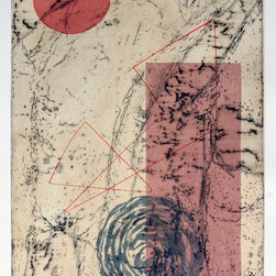 Mapping Efforts - Original Abstract Etching - This intricate etching/collagraph is part of a small edition of 5. It resembles a topographical map with layered etching that suggests a rocky landscape seen from above.