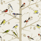 Schumacher - A-Twitter Wallpaper, Summer - Isn't it nice to see a tweet without a hashtag? This branching tree wallpaper features birds of a feather and brings the beauty of the outdoors inside your home.