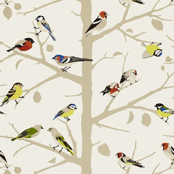 Schumacher - A-Twitter Wallpaper, Summer - A graphic branching tree is the backdrop for a flock of songbirds, in this screen printed wall-covering. Its coloration's of winter and summer feature both chic neutrals and colorfully bright hues.