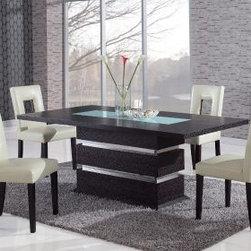 Rectangular Contemporary Pedestal Table Dining Room Set, Global -