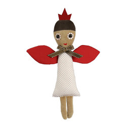 OOTS! - Rose Angel Jr. Stuffed Toy - Your little angel deserves this delightful sweet doll. Her bright red wings and crown, dotted dress and plush legs make Rose Angel a truly irresistible cuddly companion. After a long day of fluttering about, she'll be more than ready to retreat to her very own cardboard bed made from her original packaging.