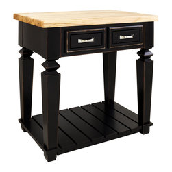 "Aged Black Island with Two Drawers - This island features two drawers on one side and a bottom shelf for additional storage. Drawers feature full extension soft-close slides.  Coordinating decorative hardware is included.  Maple grain butcher block top is 1 3/4"" thick."