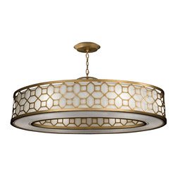 Fine Art Lamps - Allegretto Gold Pendant, 816640-2GU - An octagonal pattern offers decor detail without detracting from this pendant's sleek vibe. Hang it anywhere in your home to bring your sophisticated taste to light.