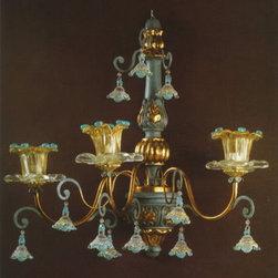 Artistica - Hand Made in Italy - Alba Lamp: Wall Light Sconce - G9 Bulb/Celeste/Oro - Alba Lamp Collection: