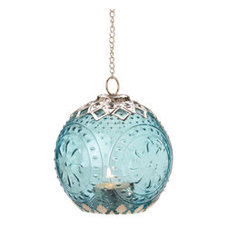 Anzy - Small Aquamarine Globe Lantern - International design comes home with this beautifully detailed hanging candle lantern. Sea color glass imprinted with a timeless pattern is framed perfectly by intricate filigree, all suspended by a glittering chain. Hang it, light a candle inside, and enjoy!
