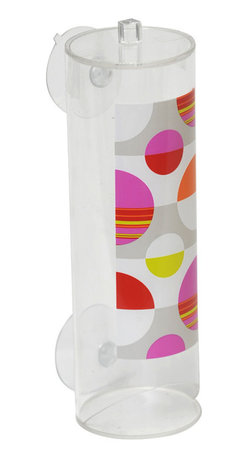 Printed Acrylic Makeup Remover Cotton Pad Dispenser + 2 Suction Pads - This printed makeup remover cotton pad dispenser Eclats for bathrooms is in clear acrylic with colored round patterns. Cylindrical, it has 2 suction pads which can be easily be fixed to your tiles or mirrors. A bottom opening dispenses round cosmetic discs. Filling through the top. Diameter 2.76-Inch and height 8.47-Inch. Wipe clean with a damp cloth. Color multicolor. This cosmetic pad dispenser is ideal to keep and dispense cotton discs and to add an elegant design to your bathroom! Complete your Eclats decoration with other products of the same collection. Imported.