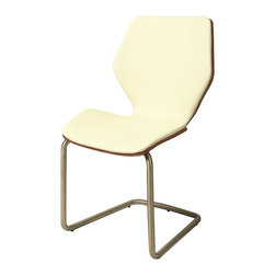 Pastel Furniture - Pastel Furniture Indiana Side Chair X-879-AW-SS-011-AI - The Indiana Side Chair exemplifies handsome proportions and bold design. With simple lines mixed with curves for comfort, this beautiful chair adds style and elegance to the dining experience. The chair is upholstered in Pu Ivory with a Walnut Veneer back and Stainless Steel frame.
