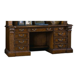 Sligh Furniture - Credenza w Locking Pedestal in Laredo Finish - Laptop docking station under hinged section of top. Station has power, internet and data ports. Flip down keyboard drawer with ergonomic wood palm rest. Surge suppressor with five electrical outlets, two phone cords and remote on/off switch. Locking left pedestal includes two box drawers and a letter/legal size file drawer. Ball bearing slides. Right pedestal has top box drawer with pencil tray and a lower hinged door. Faux drawer appearance. Door conceals one adjustable height wood shelf. Kneehole: 25.13 in. W x 25.13 in. H. Credenza: 74.25 in. W x 23.75 in. D x 31.5 in. H. Optional Deck: 77 in. W x 17 in. D x 65 in. H