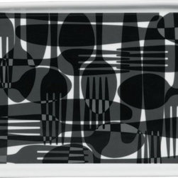 s.k.f. appetizer plate - cutting edge. Spoons, knives, forks weave a black/carbon mod gingham on white porcelain. Fun appetizer/dessert format to dine with our KF plate (see additional photos).- Porcelain- Black/carbon flatware design on white- Dishwasher- and microwave-safe- Made in China- See dimensions below