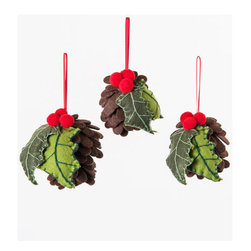 Holly Cone Ornaments - Set of 3 - Holidays wouldn't be the same without a touch of holly. These bunches of holly and cones stay evergreen, no matter what the season. Hang them up on your tree or around your home.