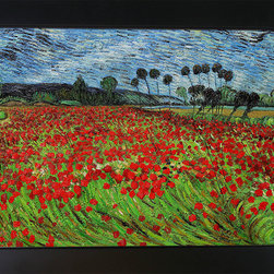 "overstockArt.com - Field of Poppies - Vincent Van Gogh Oil Painting - 30"" x 40"" Oil Painting On Canvas Hand painted oil reproduction of one of the most famous Van Gogh paintings, Field of Poppies. The original masterpiece was created in 1889. Today it has been carefully recreated detail-by-detail, color-by-color to near perfection. Why settle for a print when you can add sophistication to your rooms with a beautiful fine gallery reproduction oil painting? Vincent Van Gogh's restless spirit and depressive mental state fired his artistic work with great joy and, sadly, equally great despair. Known as a prolific Post-Impressionist, he produced many paintings that were heavily biographical. This work of art has the same emotions and beauty as the original by Van Gogh. Why not grace your home with this reproduced masterpiece? It is sure to bring many admirers!"
