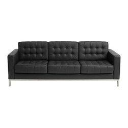 Fine Mod Imports - Button Black Leather Sofa - Features: