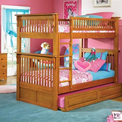 Atlantic Furniture - Colorado Twin Over Twin Bunk Bedroom Set - Includes Colorado twin over twin bunk bed, Windsor 6 drawer dresser with portrait mirror and Windsor 4 drawer tier bookshelf. Optional underbed raised panel drawers not included. Made of premium, eco-friendly solid hardwood with a 5-step finishing process. Bed features 26-steel reinforcement points, solid hardwood Mortise & Tenon construction and boasts long arches and 3 in. corner posts. Guard rails match panel design. Meet or exceed all ASTM bunk bed Standards, which require the upper bunk to support 400 lbs.. Metal drawer glides. Rear box joint on all drawers. French dovetail joinery on all drawer fronts. Built to last. No assembly required. Pictured in Caramel Latte set. Bed: 82.88 in. L x 45.88 in. W x 68.13 in. H. Bed Clearance from floor without trundle or storage drawers: 11.25 in.. Dresser: 54 in. W x 17.5 in. D x 30 in. H. Mirror: 29.88 in. L x 2 in. W x 41.88 in. H. Bookshelf: 32.5 in. W x 12 in. D x 54.38 in. H. Optional flat panel drawers: 74 in. L x 22 in. W x 12 in. H. Optional raised panel drawers: 74 in. L x 24.38 in. W x 12 in. H. Optional raised panel trundle: 74.75 in. L x 40.38 in. W x 11.63 in. H. Bunk Bed Warning. Please read before purchase