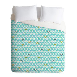 DENY Designs - Heather Dutton Take Flight Aqua Duvet Cover - Turn your basic, boring down comforter into the super stylish focal point of your bedroom. Our Luxe Duvet is made from a heavy-weight luxurious woven polyester with a 50% cotton/50% polyester cream bottom. It also includes a hidden zipper with interior corner ties to secure your comforter. It's comfy, fade-resistant, and custom printed for each and every customer.