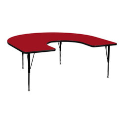 Flash Furniture - Flash Furniture 60 x 66 Horseshoe Activity Table w/ Red Thermal Fused Laminate T - Flash Furniture's Pre-School XU-A6066-HRSE-RED-T-P-GG warp resistant thermal fused laminate horseshoe activity table features a 1.125'' top and a thermal fused laminate work surface. This Horseshoe Shaped Laminate activity table provides a durable work surface that is versatile enough for everything from computers to projects or group lessons. Sturdy steel legs adjust from 16.125'' - 25.125'' high and have a brilliant chrome finish. The 1.125'' thick particle board top also incorporates a protective underside backing sheet to prevent moisture absorption and warping. T-mold edge banding provides a durable and attractive edging enhancement that is certain to withstand the rigors of any classroom environment. Glides prevent wobbling and will keep your work surface level. This model is featured in a beautiful Red finish that will enhance the beauty of any school setting. [XU-A6066-HRSE-RED-T-P-GG]