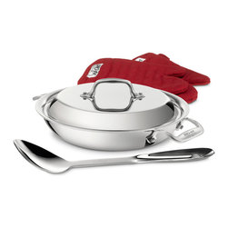 All-Clad - All-Clad Stainless Steel 2 Qt. All Purpose Pan w/Spoon, Mitts & Lid - The All-Purpose Pan features a domed lid to hold in heat, moisture, flavors and valuable nutrients. Useful for sautéing onions, stir frying vegetables, searing fish and browning meats, the pan makes a versatile addition to any kitchen. The All-Purpose Pan includes oven mitts and a serving spoon for stovetop-to-table convenience of one-pan meals. Premium tri-ply construction delivers even heat distribution Interior starburst finishing provides superior stick resistance Engraved capacity marking on the bottom of the pan Easy grip riveted loop handles provides stability 18/10 stainless steel cooking surface will not react with food Durable, ergonomically designed spoon and 2 red mitts included 2 quart capacity