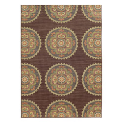 Tommy Bahama Area Rugs - Cabana 501M2 Multi-Color Rectangular: 5 Ft. 3 In. x 7 Ft. 6 In. Rug - - The Cabana collection from Tommy Bahama Home features a line of area rugs beautiful enough for the indoors but durable enough to bring its beauty outdoors. The line boasts an 8-color spaced dyed loop pile for added texture, depth and dimension. Featuring a sophisticated color palette in traditional to global designs, Cabana is the perfect addition to any indoor or outdoor space.  - Construction: Machine Woven  - Material: Polypropylene  - Care Instructions: Spot clean with water and mild soap  - Primary Pattern: Floral  - Pile Height in Inches: 0.31  - Country of Origin: Egypt Tommy Bahama Area Rugs - 748679393534