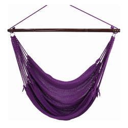 "Caribbean Hammocks - Jumbo Hammock Chair 55"" Wide Free Suspension Kit, Purple - This is truly the king of the 'Jumbo' Hammock Chairs. Most other 'Jumbo' chairs are 47"" wide, but this Jumbo Hammock Chairs spreader bar is 55"" wide. Why? Well the wider the spreader bar, the more comfortable it is. When making comparisons make sure to check the width of the Hammock Spreader Bar."