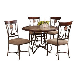 """Acme - 5-Piece Barrie Collection Round Faux Marble Top and Wood Trim Edge Table Set - 5-Piece Barrie collection round faux marble top and wood trim edge and metal frame table set and brown fabric upholstered chairs. This set features round table with a faux marble finish with metal frame, 4 - side chairs with a fabric upholstery. Table measures 45"""" Dia. Chairs measure 40"""" H at the back. Some assembly required."""