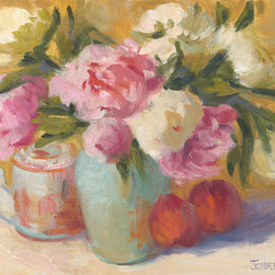"""Peonies & Teapot"", Original Oil Painting by Jennifer Hurley - Small still life paintings by Jennifer Hurley have long been favorites of interior designers and have graced many Pasadena Showcase Houses of Design.  The soft colors and impressionist style works well with any decor.  This 9"" x 12"" original oil painting on canvas is mounted in a 16"" x 18"" gilded wood frame.  Signed by the artist on the lower right."