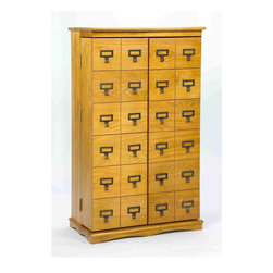 Leslie Dame - Library Style Front Multimedia Cabinet w Door - Color: Dark OakPictured in Oak. Shelves made of solid oak w lacquer finish. Doors constructed with dovetail joints. Heavy duty, antique finish hinges. Holds 612 CDs or 298 DVDs or 172 VHS Tapes. Some assembly required. 23 1/4 in. W x 13 in. D x 40 in. H (93 lbs.)Our Deluxe Handcrafted Solid Oak Mission Style Multimedia Storage Cabinet has that rare combination of classic design and high quality construction. This beautiful furniture quality cabinet will compliment any decor while providing the consumer the versatility of fifteen fully adjustable shelves capable of holding CD's, DVD's, VHS Videocassettes or Game Cartridges.