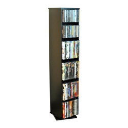 Venture Horizon - Revolving Multi-Media Tower in Black Finish w - Give this multimedia tower a spin and you'll have instant access to an entire collection. With adjustable shelves, you can organize quickly with no more rumbling through boxes and drawers. Contemporary styling includes a black laminate finish and understated revolving base. Organizes all media. Large storage capacity. Contemporary styling. Top and bottom storage. Rugged Construction. Constructed from durable, stain resistant and laminated wood composites that includes MDF. Made in the USA. Assembly required. Media storage capacity:. CD's : 280. DVD's : 160. Blu-ray's: 180. VHS tapes: 60. Disney tapes: 40. Audio cassettes: 300+. Weight: 22 lbs.. Shelf depth: 6 in.. 2 Storage Sides. One size Available: 10 in. W x 10 in. D x 48 in. HOrganize an entire media collection. These 4 sided beauties will brighten up any room. Because they rotate a full 360�, you will never have to strain your neck locating your favorite CD, DVD, video or cassette. There are 5 models from which to choose so identifying the perfect match should be easy. Nearly all the shelves are adjustable so even odd sized media like Disney Tapes can be accommodated. Constructed from durable melamine laminated particle board these towers are stain resistant and easy to clean. The front panels and top and bottom panels on Models: 2021, 2022, 2381, 2391 and 2392 are gently molded and stylishly contoured to add real value. NEW! We just added a 2 sided Revolving Media Tower available in 2 sizes and 4 colors.