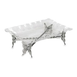 Arthur Court Designs - Arthur Court Designs Butterfly Stand with Acrylic Tray - Gorgeous and ultra-functional, this butterfly stand with acrylic tray is a great addition to your Arthur Court collection. The stand itself is a footed piece in a butterfly design and manufactured with Arthur Court's premium signature aluminum.
