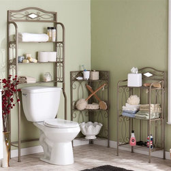 Holly & Martin - Holly and Martin 3-Pc Bath Storage Set - Includes space saver rack, corner rack and 3-tier rack. Detailed scroll insets give life to this transitional towel shelf. Each rack has three shelves perfect for toiletries, towels and other decorative items. Corner rack utilizes wasted corner space. Diamond shaped mirror accents above the shelves of each rack. Square tube steel frame. Warranty: One year limited. Made from durable metal. Powder coated pewter gun metal color. Assembly required. Space saver rack:. Top shelf: 24.75 in. W x 6.25 in. D x 9.25 in. H. Two lower shelves: 24.75 in. W x 6.25 in. D x 9 in. H. Toilet recess: 24.75 in. W x 6.25 in. D x 32.5 in. H. Overall: 27.25 in. W x 8.75 in. D x 66.5 in. H. 3-tier rack:. Top shelf: 17.25 in. W x 8.5 in. D x 7 in. H. Two lower shelves: 17.25 in. W x 8.5 in. D x 13.25 in. H. Area under unit: 17.25 in. W x 8.5 in. D x 4.75 in. H. Overall: 19.25 in. W x 10.5 in. D x 39.75 in. H. Corner rack:. Top shelf: 16.5 in. W x 9 in. D x 4.25 in. H. Two lower shelves: 16.5 in. W x 9 in. D x 13.25 in. H. Area under unit: 16.5 in. W x 9 in. D x 4.25 in. H. Overall: 18.75 in. W x 12.75 in. D x 36.75 in. HMaking use of wasted floor space will bring plenty of organization to your bathroom. This bathroom storage collection is the perfect solution for any size bathroom. It's a space-saving dream with an elegant scrolling design. These stylish racks aren't limited to the bathroom, though, so be sure to try them in your kitchen or craft room today!