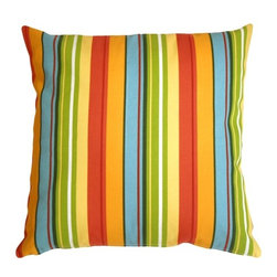 Pillow Decor - Pillow Decor - Bistro Stripes Azalea Outdoor Pillow - Made from an original P. Kaufmann outdoor fabric, Bistro Stripes Azalea is a beautiful and brightly striped outdoor throw pillow that will make even your most colorful flower beds envious.